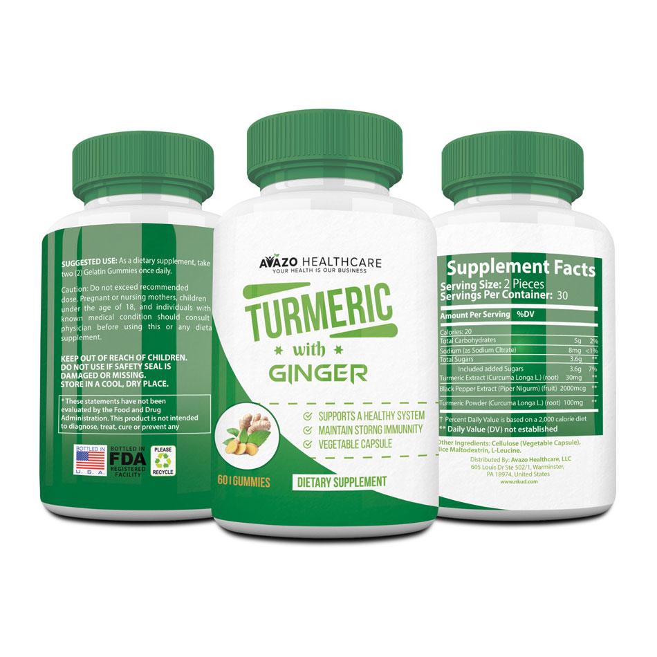 Turmeric Curcumin & Ginger Vegan Gummies
